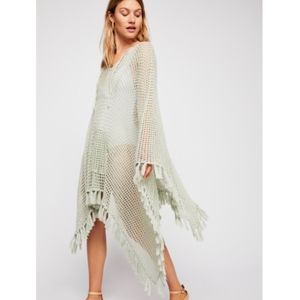 Free People Sand and Sea Crochet Hooded Poncho